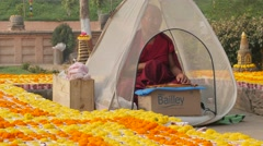 Monk praying in mosquito tent,BodhGaya,Mahabodhi Temple Complex,India Stock Footage