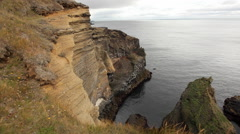 Seashore with cliffs West Iceland Stock Footage