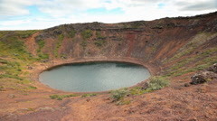 Kerid volcanic crater lake in Iceland Stock Footage