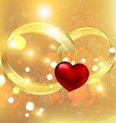 Background with wedding rings and heart Stock Illustration