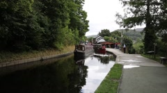 Llangollen Wales UK  canal barges and ducks popular Welsh tourist attraction Stock Footage