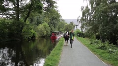 Llangollen canal Wales UK horse drawn canal boat Stock Footage