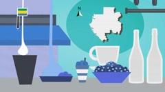 Gabon - Vector Menu - Restaurant - Food and Drinks - blue Stock Footage