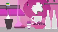 Gabon - Vector Menu - Restaurant - Food and Drinks - pink Stock Footage