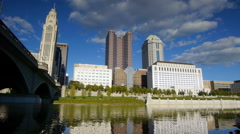 Columbus Ohio Skyline from River 1080/24p Stock Footage