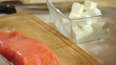 Close-up of diced feta cheese and salmon salmon salmon trout Stock Footage