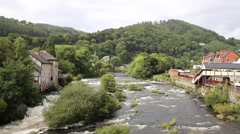 Llangollen Wales uk River Dee beautiful Welsh tourist destination Stock Footage
