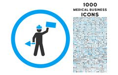 Builder With Shovel Rounded Icon with 1000 Bonus Icons Stock Illustration