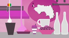 Guinea - Vector Menu - Restaurant - Food and Drinks - pink Stock Footage