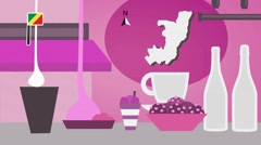Republic of the Congo - Vector Menu - Restaurant - Food and Drinks - pink Stock Footage