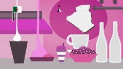 Algeria - Vector Menu - Restaurant - Food and Drinks - pink Stock Footage