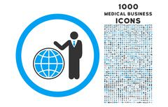 Global Manager Rounded Icon with 1000 Bonus Icons Stock Illustration