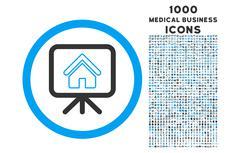 Project Slideshow Rounded Icon with 1000 Bonus Icons Stock Illustration