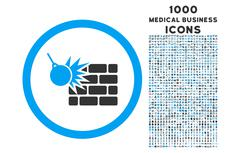 Wall Destruction Rounded Icon with 1000 Bonus Icons Stock Illustration
