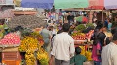 Fruit sellers on market,BodhGaya,India Stock Footage