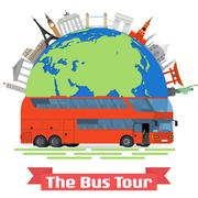 The Bus Tour of Europe and popular familiar landmarks Stock Illustration