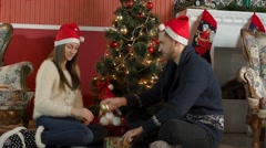 Young Couple Decorates a Christmas Tree Stock Footage