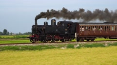 Old steam train and antique carriages run on the tracks between rice fields Arkistovideo
