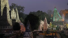 Entrance of the temple in the evening,BodhGaya,Mahabodhi Temple Complex,India Stock Footage