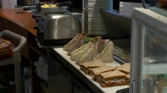 Cafeteria, making sandwiches (part three) Stock Footage