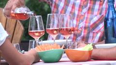 People having drinks outdoors talking and toasting wine glasses Arkistovideo