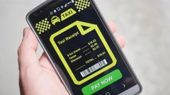 4K Paying the Taxi Receipt On Smartphone Mobile app Stock Footage