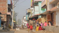 People and kids on street,BodhGaya,India Stock Footage