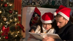 Christmas Bedtime Stories Stock Footage