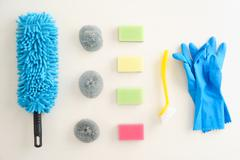 Collection of cleaning supplies Stock Photos