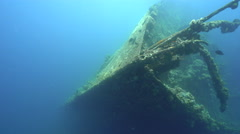 Bow of Umbria shipwreck - front side view, Red Sea, Sudan Stock Footage