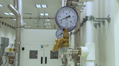 Pressure Meter Close up in Technical Laboratory Stock Footage