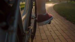Pedaling on a Bicycle Stock Footage