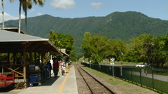 Passengers on Platform at Scenic Railways Freshwater Station Stock Footage