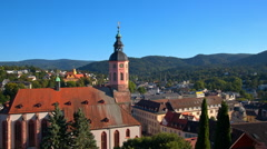 Baden-Baden, the main Church of the city Stock Footage