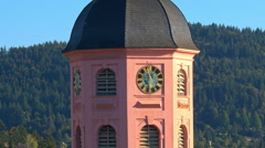 Baden-Baden, the clock on the main Church of the city Stock Footage