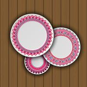 Set of decorative plates with a ethnic tribal ornament of handwork and an emp Stock Illustration