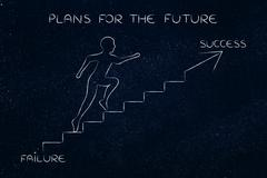 From failure to success, man climbing stairs metaphor Stock Illustration