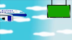 Airplane flies in blue sky - Banner with chromokey screen - Information table Stock Footage