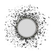 Grey Confetti Round Banner Stock Illustration