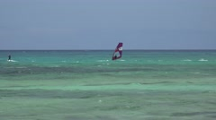 KITE BOARDING AT FLAG BEACH FUERTAVENTURA Stock Footage