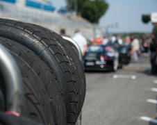 Wet racing tire set motor sport Stock Photos