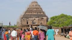 Indian tourists goiung to Sun Temple,Konark,India Stock Footage