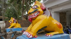 Yellow lion statue at entrance of Lingaraja temple,Bhubaneswar,India Stock Footage