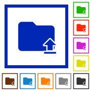 Upload folder framed flat icons Stock Illustration