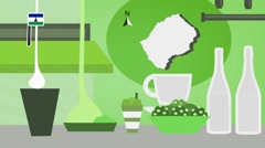 Lesotho - Vector Menu - Restaurant - Food and Drinks - green Stock Footage
