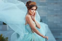 Girl Queen with crown in a dress. Stock Photos