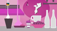 Mozambique - Vector Menu - Restaurant - Food and Drinks - pink Stock Footage