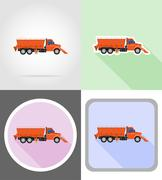 Truck clearing snow and sprinkled on the road flat icons vector illustration Stock Illustration