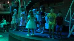 Children Are Dancing On The Disco Dance Floor 4k Stock Footage