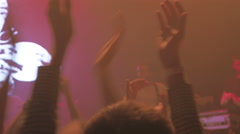 Group of people claping one's hands on the dance floor at the concert, 4k Stock Footage